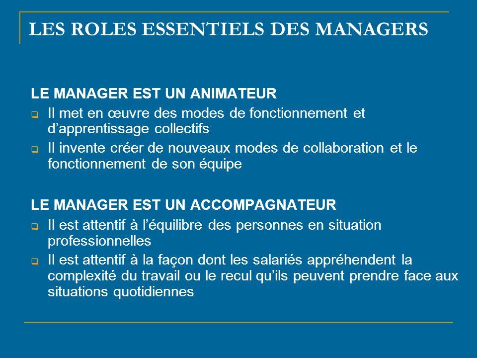LES ROLES ESSENTIELS DES MANAGERS LE MANAGER EST UN ANIMATEUR Il met en œuvre des modes de fonctionnement et dapprentissage collectifs Il invente crée