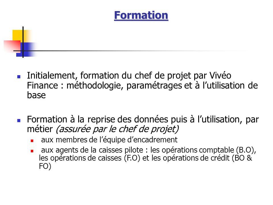 Formation Initialement, formation du chef de projet par Vivéo Finance : méthodologie, paramétrages et à lutilisation de base Formation à la reprise de