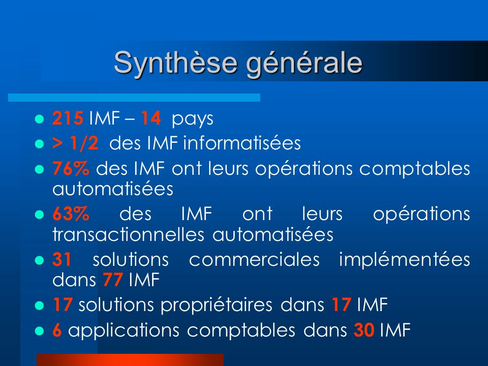 Synthèse générale 215 IMF – 14 pays > 1/2 des IMF informatisées 76% des IMF ont leurs opérations comptables automatisées 63% des IMF ont leurs opérations transactionnelles automatisées 31 solutions commerciales implémentées dans 77 IMF 17 solutions propriétaires dans 17 IMF 6 applications comptables dans 30 IMF