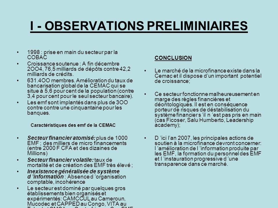 I - OBSERVATIONS PRELIMINIAIRES 1998 : prise en main du secteur par la COBAC Croissance soutenue : A fin décembre 2OO4, 76,5 milliards de dépôts contr