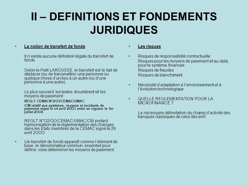 II – DEFINITIONS ET FONDEMENTS JURIDIQUES La notion de transfert de fonds Il nexiste aucune définition légale du transfert de fonds Selon le Petit LAR