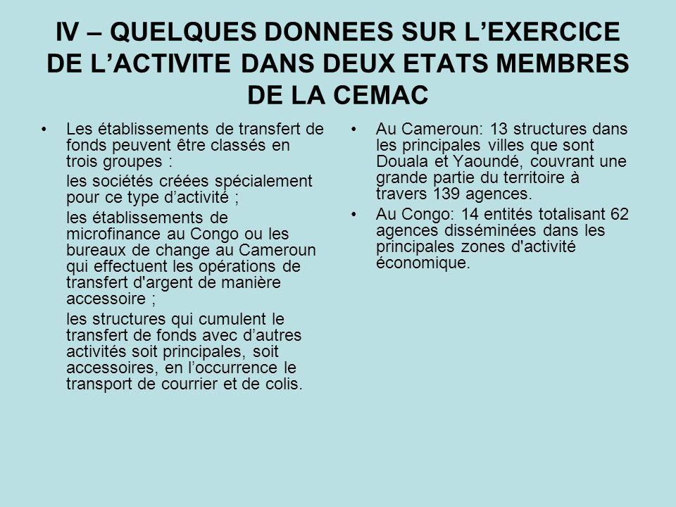 Les mises à disposition effectuées par les structures établies au Congo peuvent porter sur des montants absolument infimes (1 000 F), mais également sur des sommes très élevées (33 000 000 F) sans aucun rapport ni avec les moyens dont disposent ces structures, ni avec leur statut.