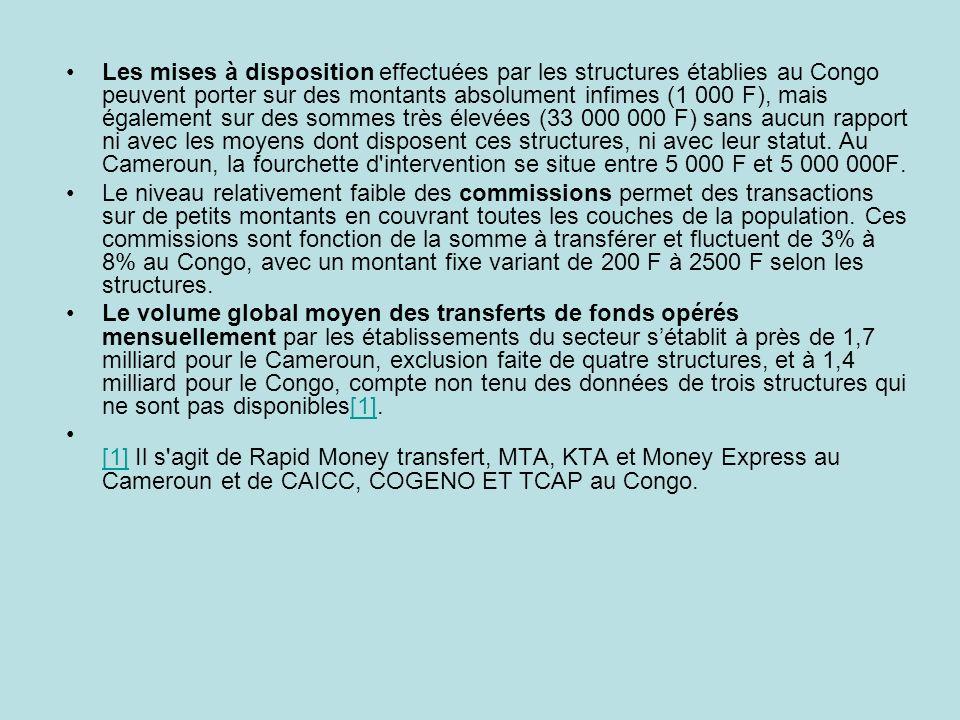Les mises à disposition effectuées par les structures établies au Congo peuvent porter sur des montants absolument infimes (1 000 F), mais également s