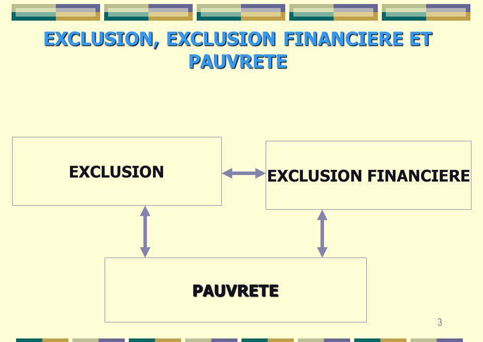 3 EXCLUSION, EXCLUSION FINANCIERE ET PAUVRETE EXCLUSION EXCLUSION FINANCIERE PAUVRETE