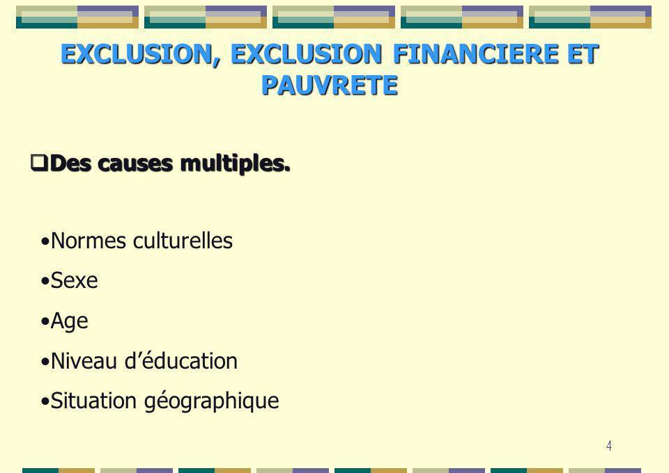 4 EXCLUSION, EXCLUSION FINANCIERE ET PAUVRETE Des causes multiples. Des causes multiples. Normes culturelles Sexe Age Niveau déducation Situation géog