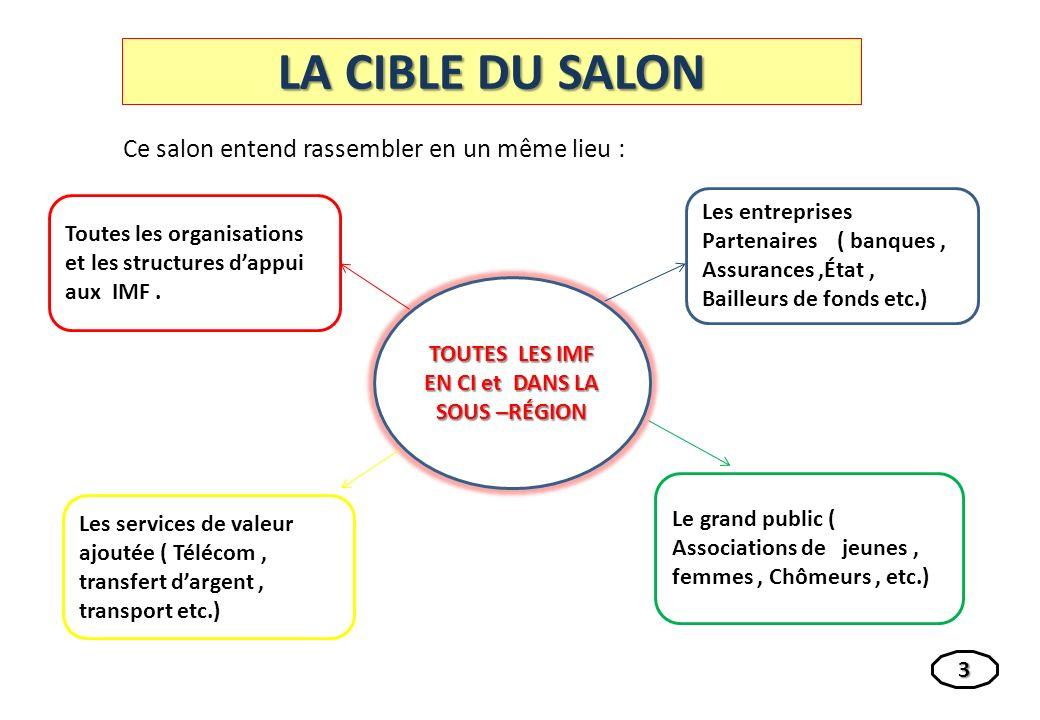 LA CIBLE DU SALON Ce salon entend rassembler en un même lieu : Toutes les organisations et les structures dappui aux IMF.