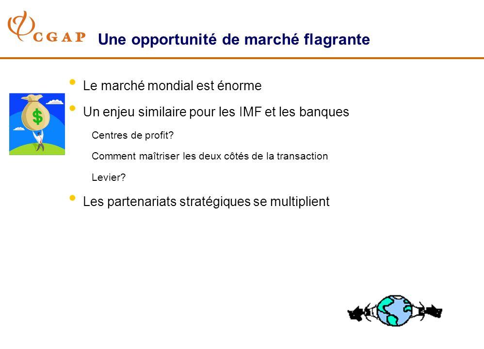Une opportunité de marché flagrante Le marché mondial est énorme Un enjeu similaire pour les IMF et les banques Centres de profit? Comment maîtriser l
