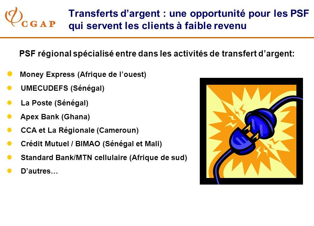 Transferts dargent : une opportunité pour les PSF qui servent les clients à faible revenu PSF régional spécialisé entre dans les activités de transfert dargent: l Money Express (Afrique de louest) l UMECUDEFS (Sénégal) l La Poste (Sénégal) l Apex Bank (Ghana) l CCA et La Régionale (Cameroun) l Crédit Mutuel / BIMAO (Sénégal et Mali) l Standard Bank/MTN cellulaire (Afrique de sud) l Dautres…