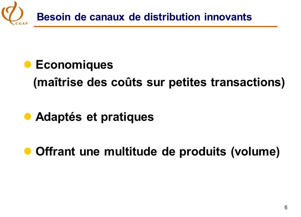 6 Besoin de canaux de distribution innovants l Economiques (maîtrise des coûts sur petites transactions) l Adaptés et pratiques l Offrant une multitud