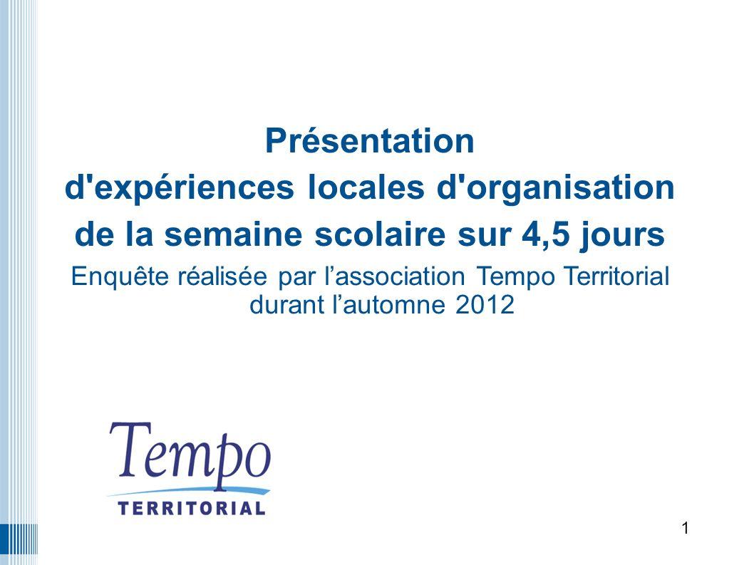Présentation d expériences locales d organisation de la semaine scolaire sur 4,5 jours Enquête réalisée par lassociation Tempo Territorial durant lautomne 2012 1