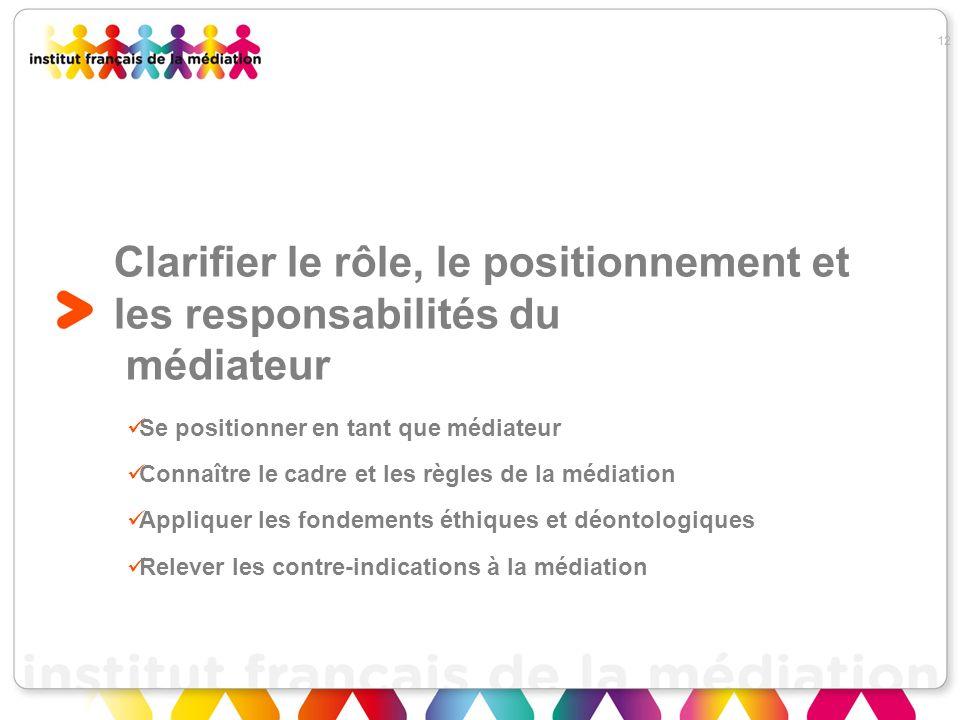 Clarifier le rôle, le positionnement et les responsabilités du médiateur Se positionner en tant que médiateur Connaître le cadre et les règles de la m