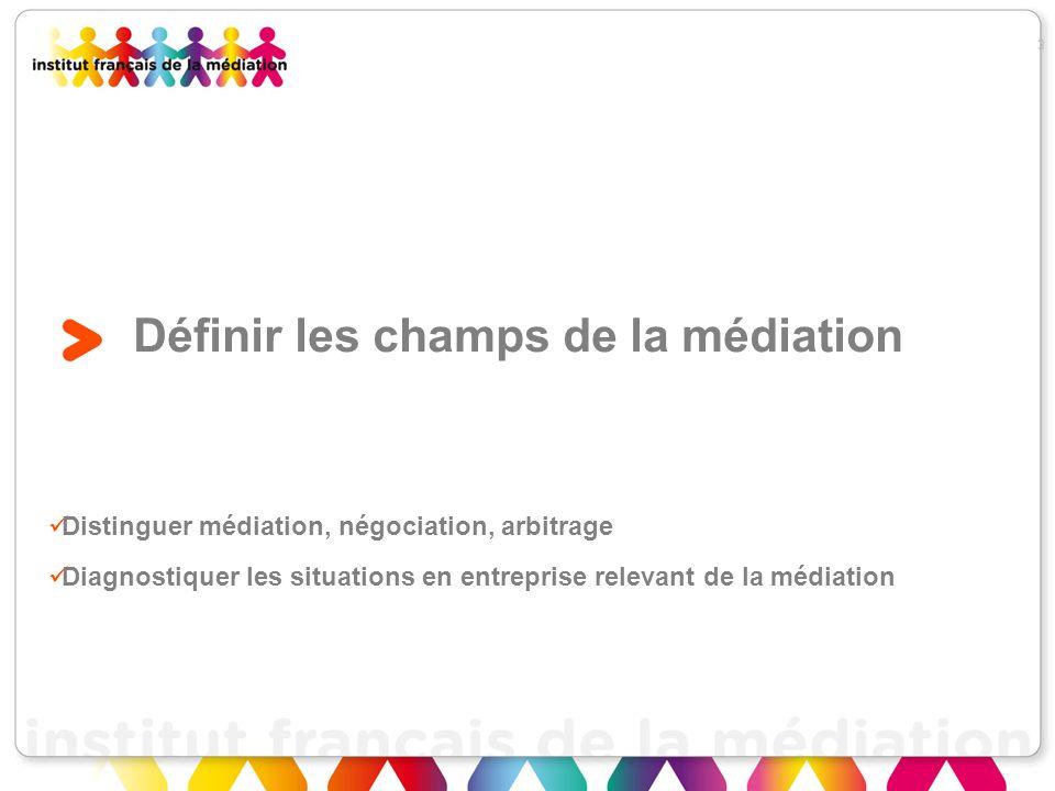 Définir les champs de la médiation Distinguer médiation, négociation, arbitrage Diagnostiquer les situations en entreprise relevant de la médiation 3