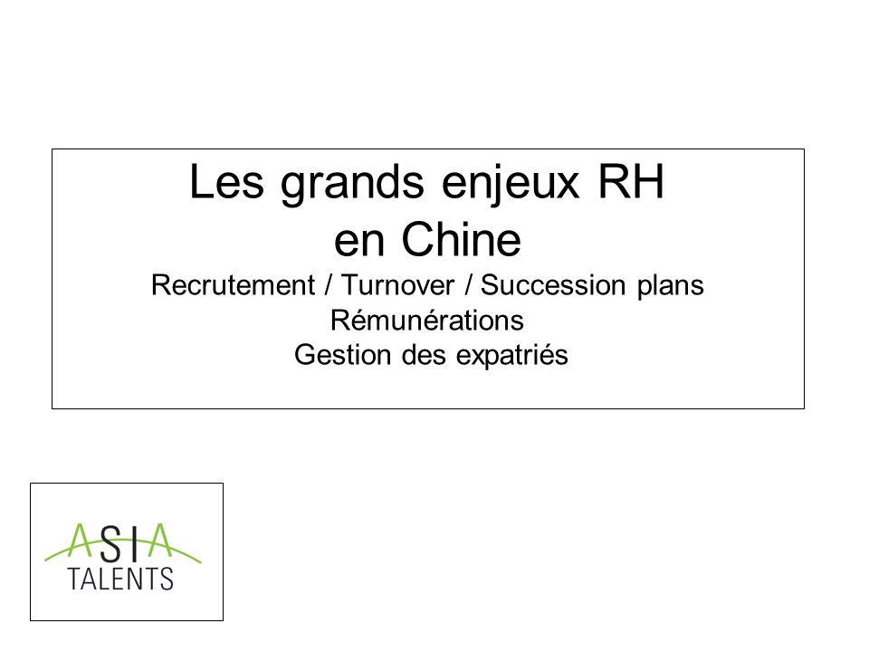 Les grands enjeux RH en Chine Recrutement / Turnover / Succession plans Rémunérations Gestion des expatriés