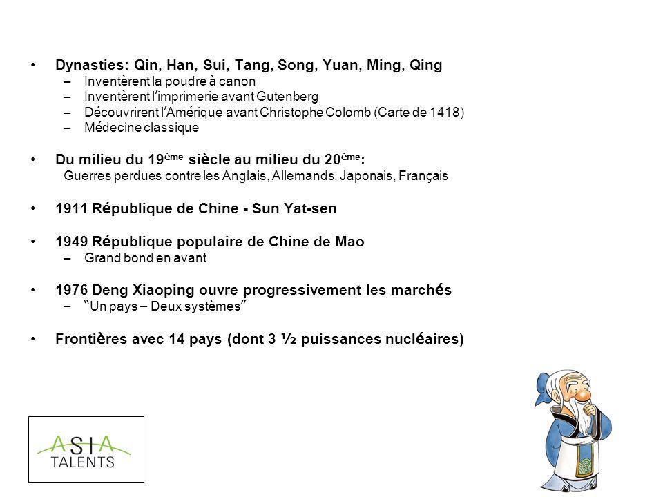 Dynasties: Qin, Han, Sui, Tang, Song, Yuan, Ming, Qing –Invent è rent la poudre à canon –Invent è rent l imprimerie avant Gutenberg –D é couvrirent l