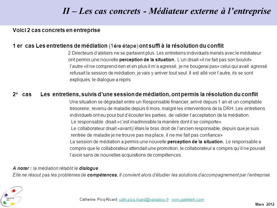Mars 2012 Catherine Picq-Ricard cath.picq.ricard@wanadoo.fr www.paletterh.comcath.picq.ricard@wanadoo.frwww.paletterh.com II – Les cas concrets - Médi