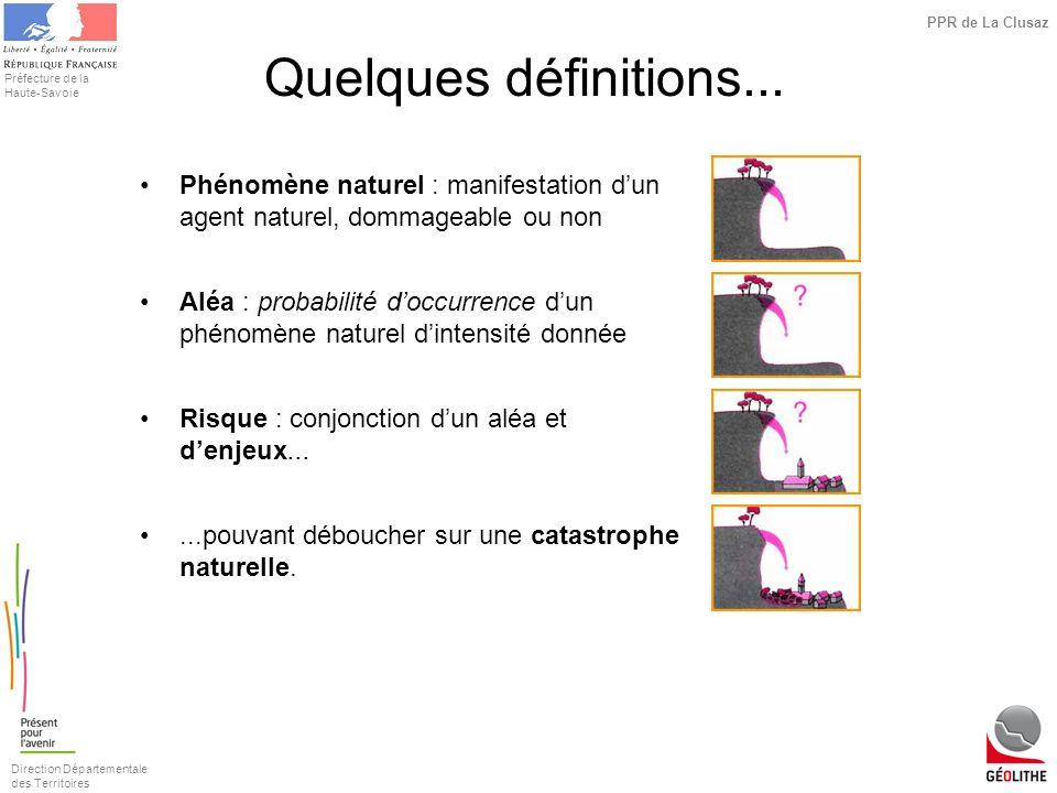 Direction Départementale des Territoires Préfecture de la Haute-Savoie PPR de La Clusaz Quelques définitions... Phénomène naturel : manifestation dun