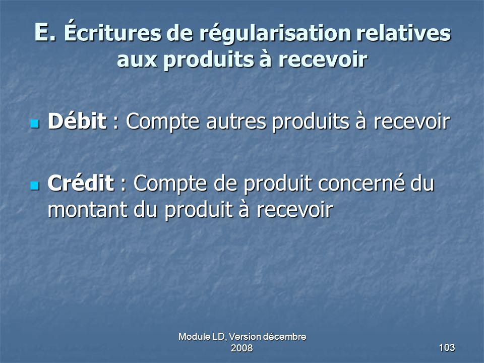 Module LD, Version décembre 2008103 E. Écritures de régularisation relatives aux produits à recevoir Débit : Compte autres produits à recevoir Débit :