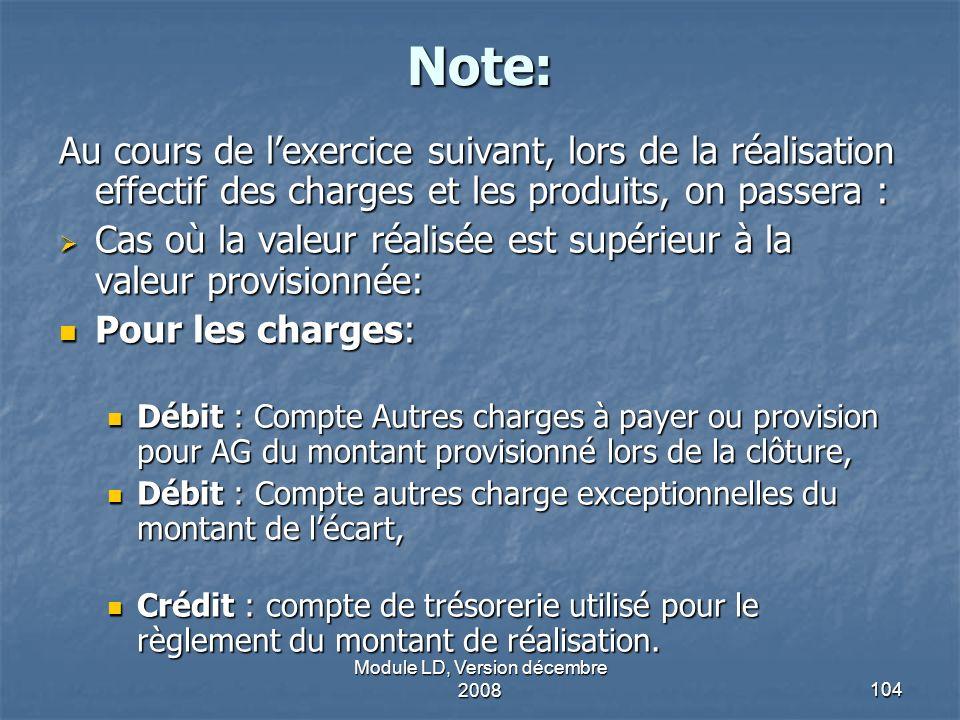 Module LD, Version décembre 2008104 Note: Au cours de lexercice suivant, lors de la réalisation effectif des charges et les produits, on passera : Cas