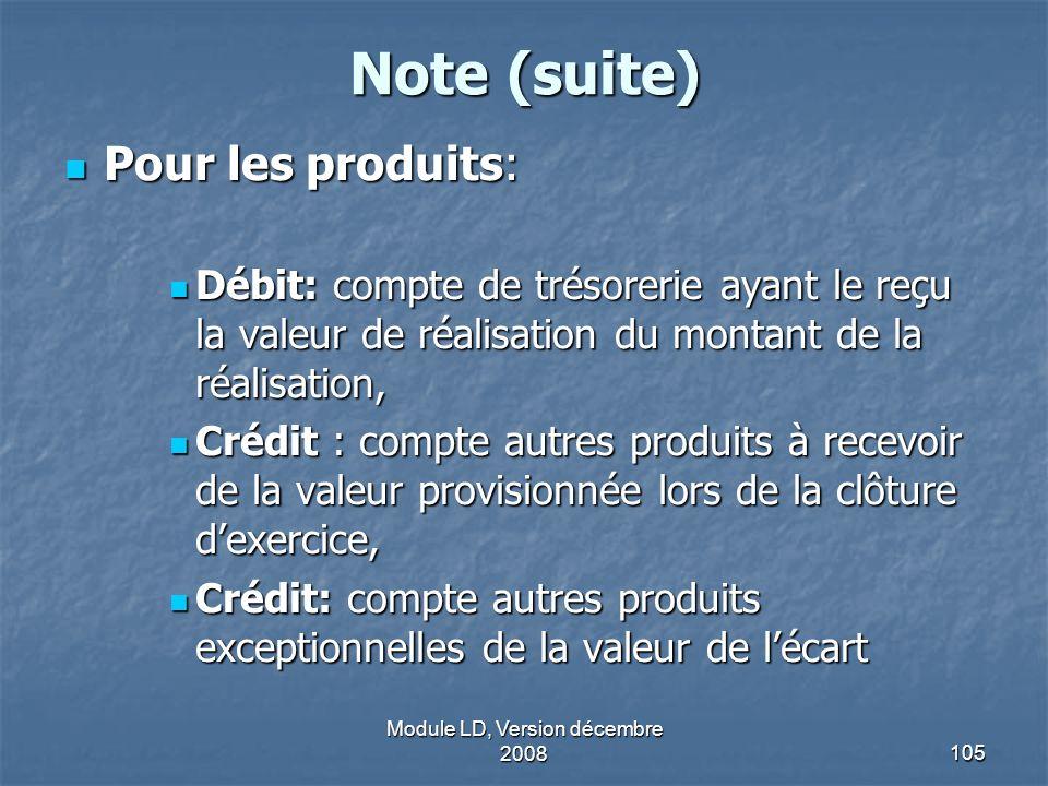 Module LD, Version décembre 2008105 Note (suite) Pour les produits: Pour les produits: Débit: compte de trésorerie ayant le reçu la valeur de réalisat
