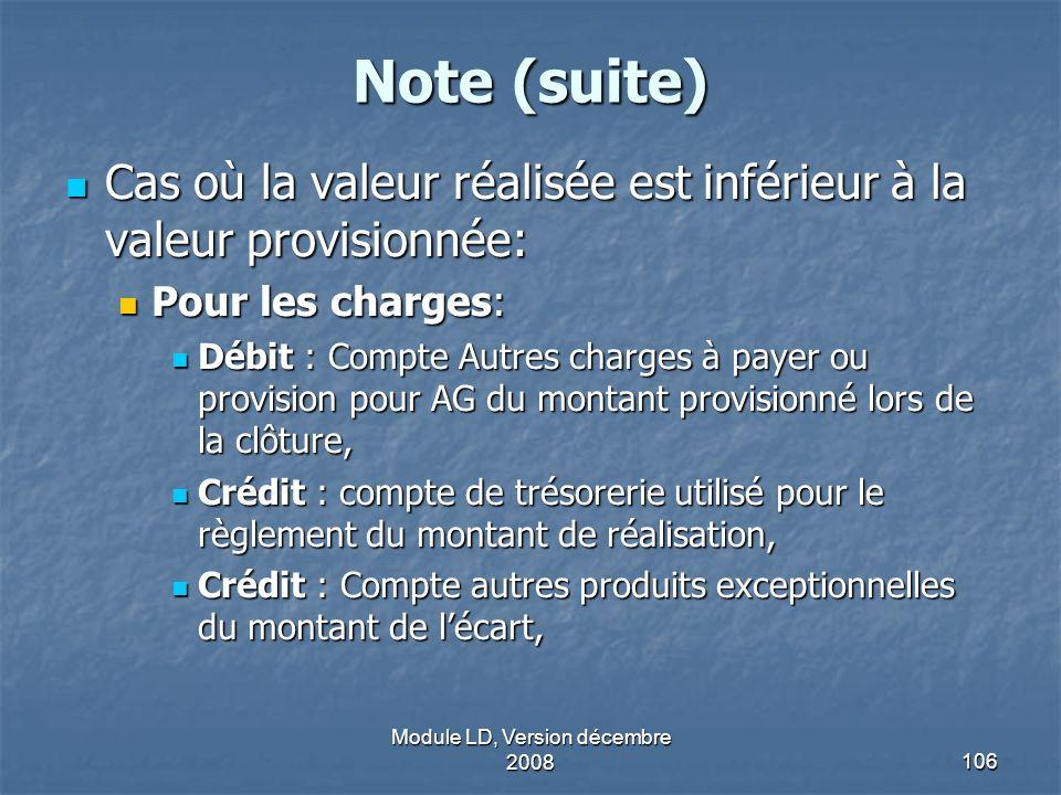 Module LD, Version décembre 2008106 Note (suite) Cas où la valeur réalisée est inférieur à la valeur provisionnée: Cas où la valeur réalisée est infér