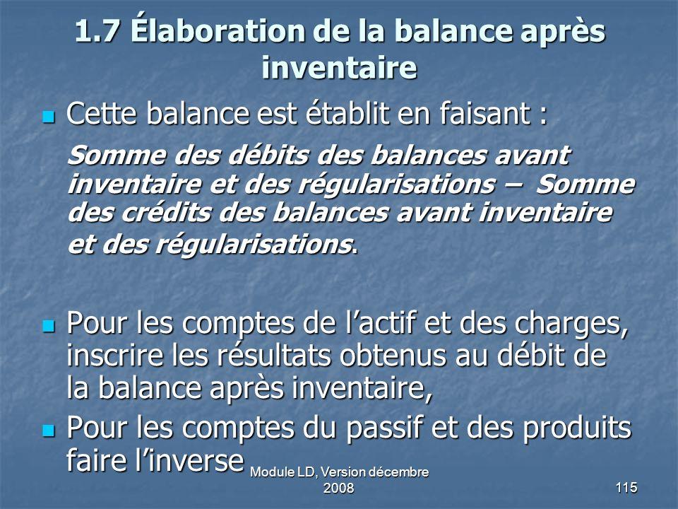 Module LD, Version décembre 2008115 1.7 Élaboration de la balance après inventaire Cette balance est établit en faisant : Cette balance est établit en