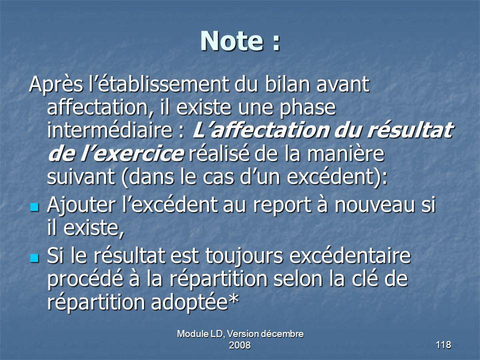 Module LD, Version décembre 2008118 Note : Après létablissement du bilan avant affectation, il existe une phase intermédiaire : Laffectation du résult