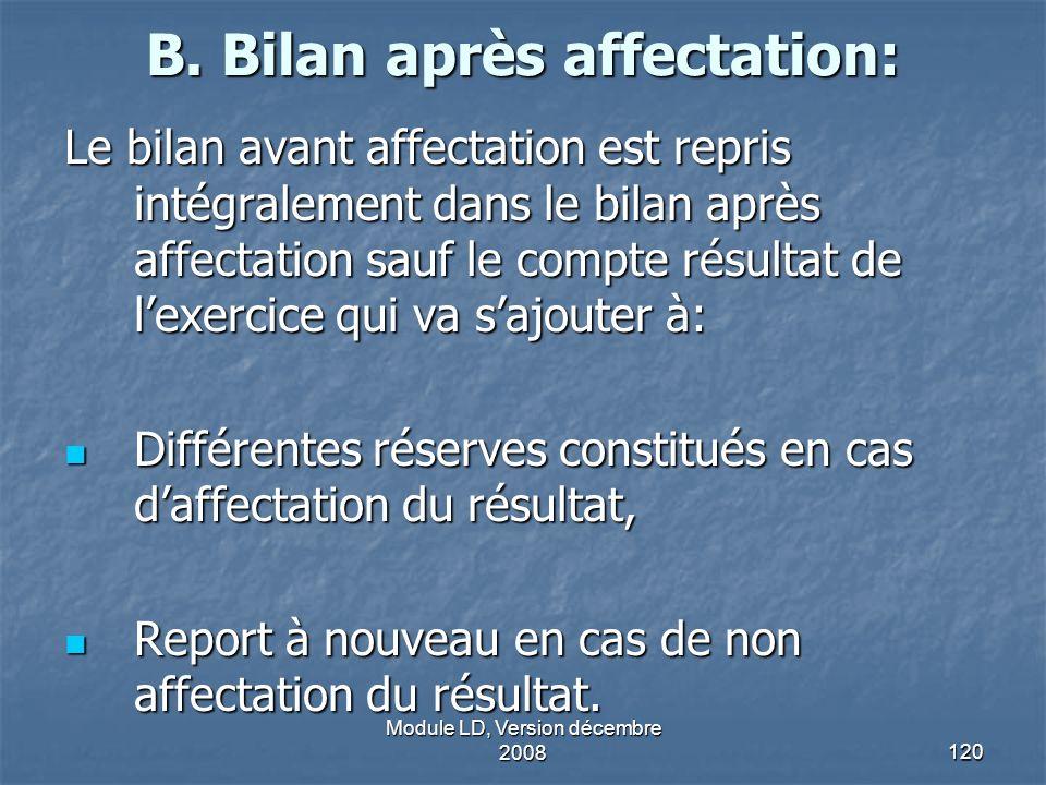Module LD, Version décembre 2008120 B. Bilan après affectation: Le bilan avant affectation est repris intégralement dans le bilan après affectation sa
