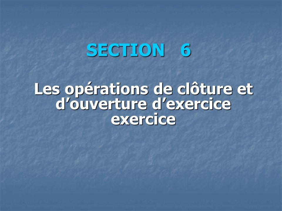 SECTION 6 Les opérations de clôture et douverture dexercice exercice