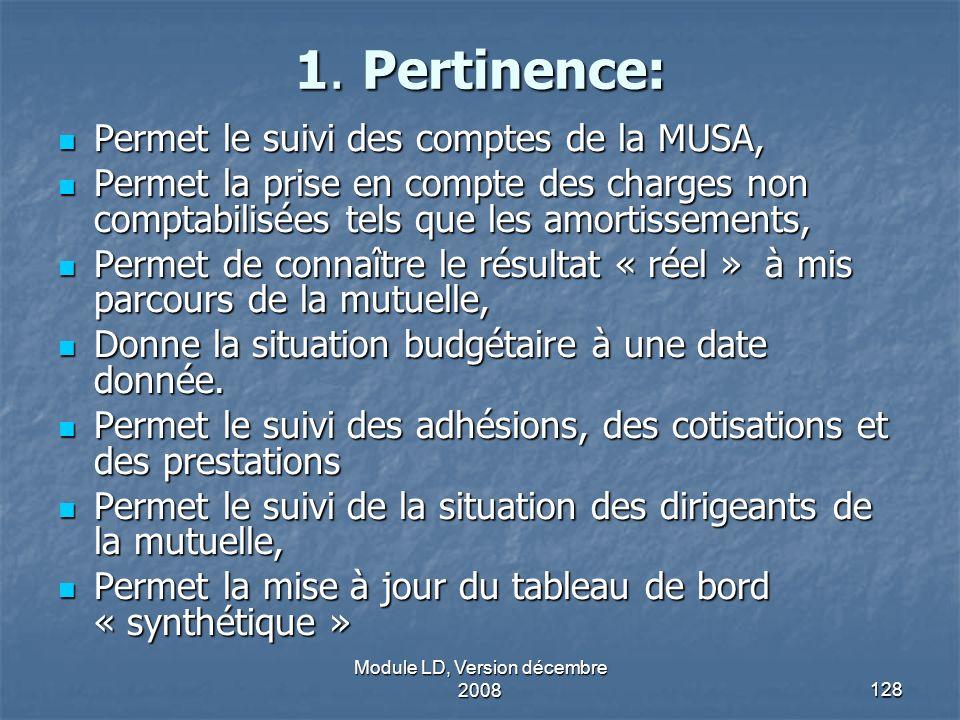 Module LD, Version décembre 2008128 1. Pertinence: Permet le suivi des comptes de la MUSA, Permet le suivi des comptes de la MUSA, Permet la prise en