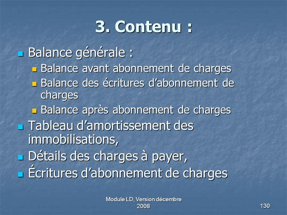 Module LD, Version décembre 2008130 3. Contenu : 3. Contenu : Balance générale : Balance générale : Balance avant abonnement de charges Balance avant