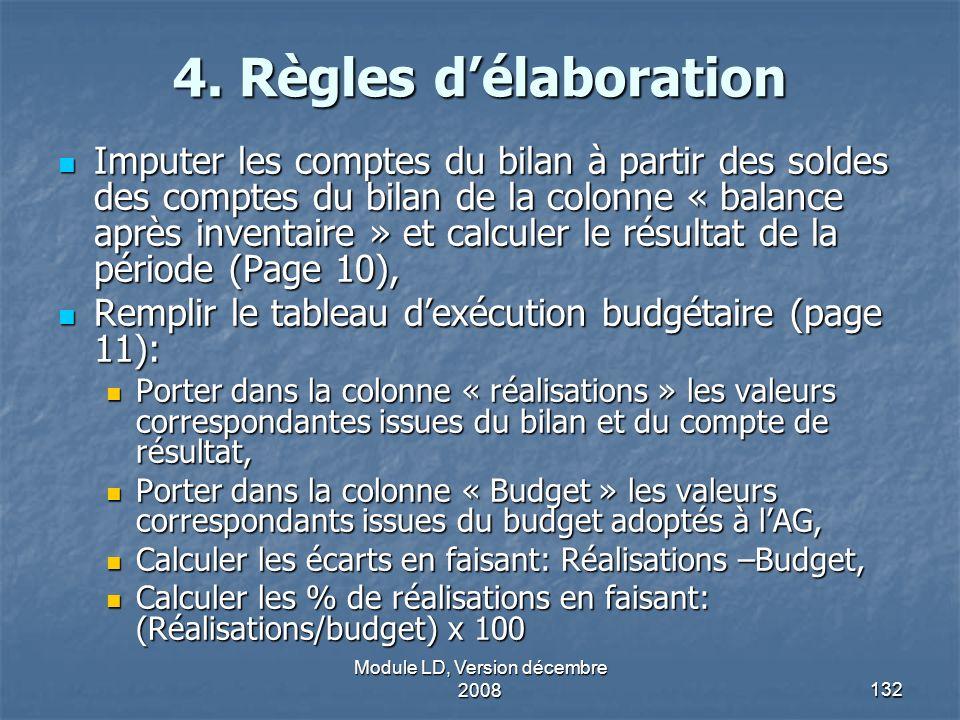 Module LD, Version décembre 2008132 4. Règles délaboration Imputer les comptes du bilan à partir des soldes des comptes du bilan de la colonne « balan