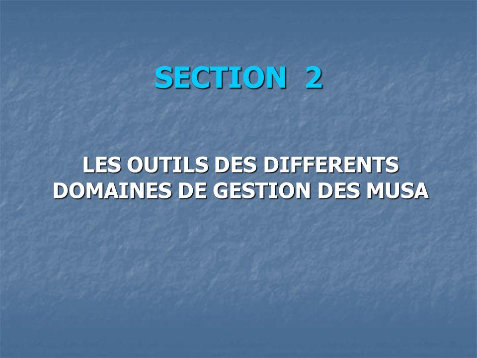 SECTION 2 LES OUTILS DES DIFFERENTS DOMAINES DE GESTION DES MUSA