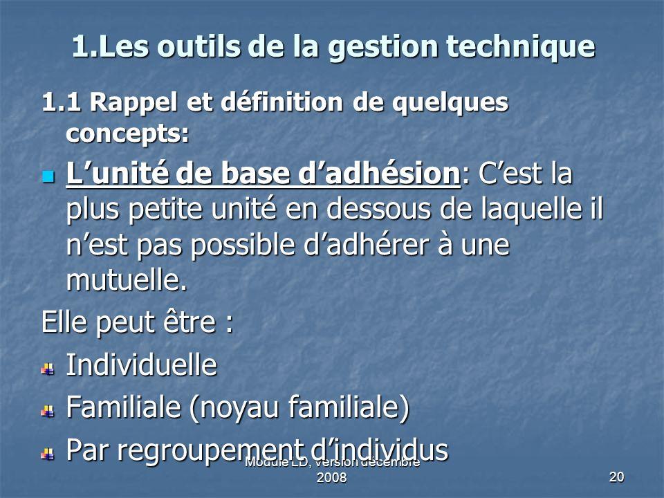 Module LD, Version décembre 200820 1.Les outils de la gestion technique 1.1 Rappel et définition de quelques concepts: Lunité de base dadhésion: Cest