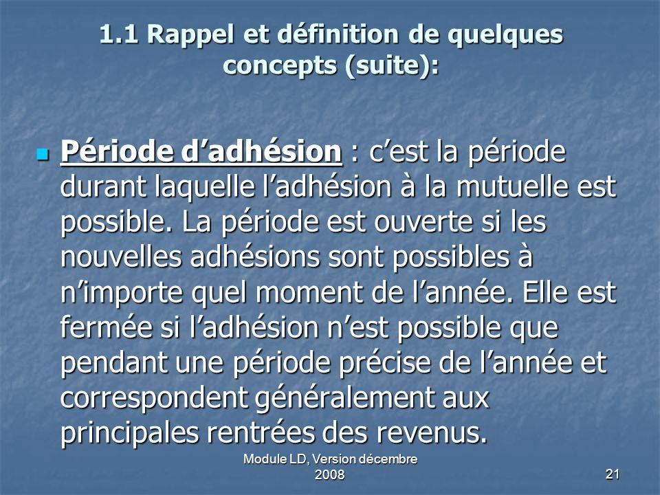 Module LD, Version décembre 200821 1.1 Rappel et définition de quelques concepts (suite): Période dadhésion : cest la période durant laquelle ladhésio