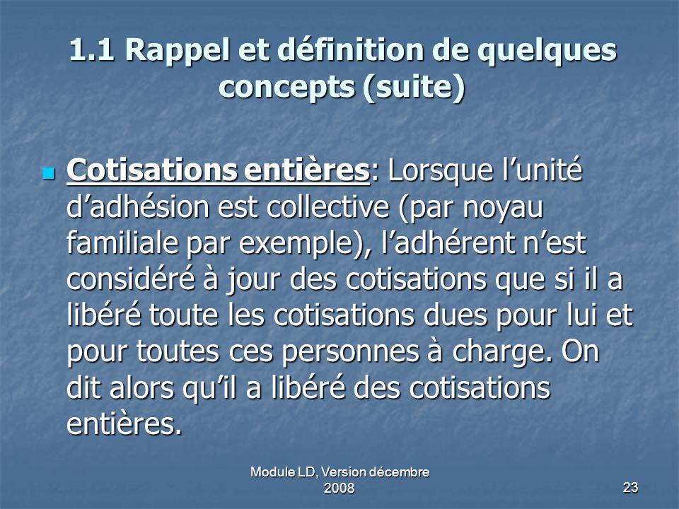 Module LD, Version décembre 200823 1.1 Rappel et définition de quelques concepts (suite) Cotisations entières: Lorsque lunité dadhésion est collective