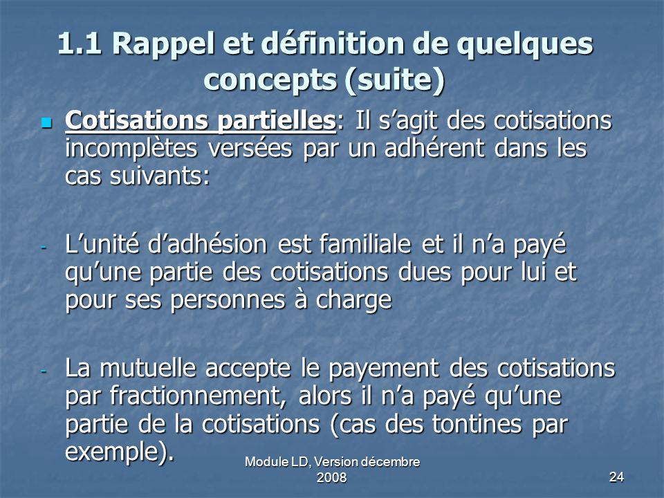 Module LD, Version décembre 200824 1.1 Rappel et définition de quelques concepts (suite) Cotisations partielles: Il sagit des cotisations incomplètes