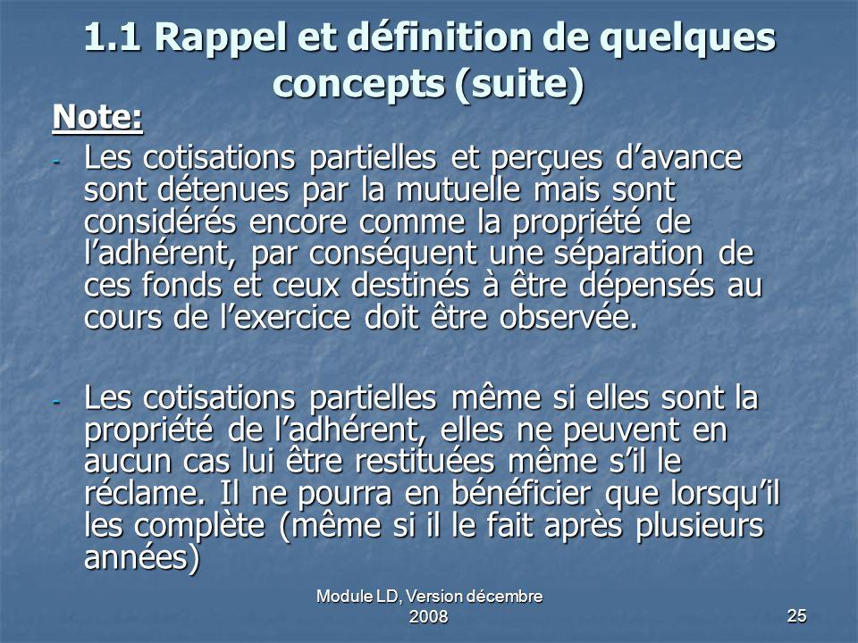 Module LD, Version décembre 200825 1.1 Rappel et définition de quelques concepts (suite) Note: - Les cotisations partielles et perçues davance sont dé