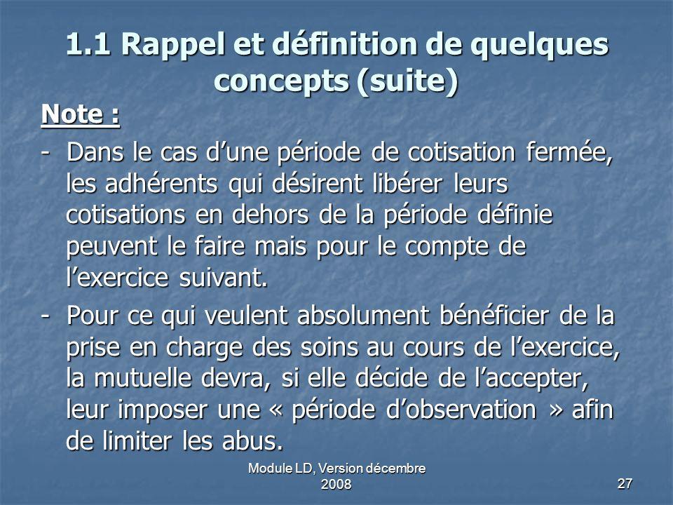 Module LD, Version décembre 200827 1.1 Rappel et définition de quelques concepts (suite) Note : - Dans le cas dune période de cotisation fermée, les a