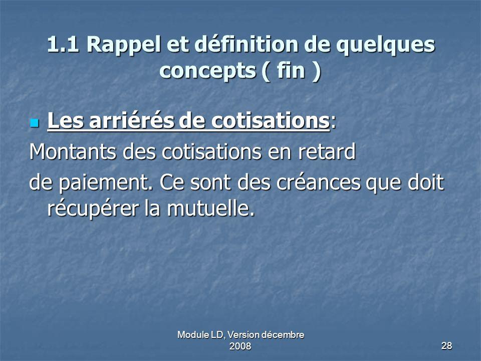 Module LD, Version décembre 200828 1.1 Rappel et définition de quelques concepts ( fin ) Les arriérés de cotisations: Les arriérés de cotisations: Mon