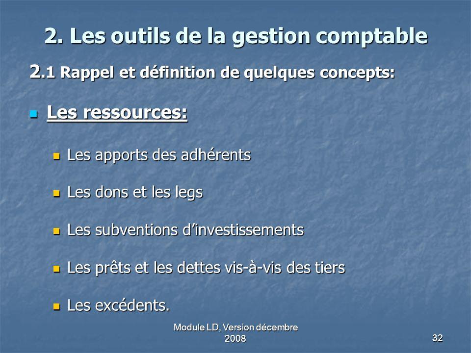 Module LD, Version décembre 200832 2. Les outils de la gestion comptable 2.1 Rappel et définition de quelques concepts: Les ressources: Les ressources