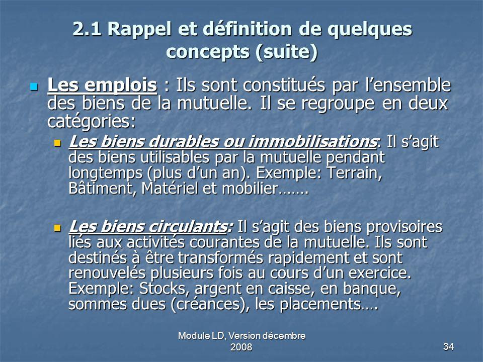Module LD, Version décembre 200834 2.1 Rappel et définition de quelques concepts (suite) Les emplois : Ils sont constitués par lensemble des biens de