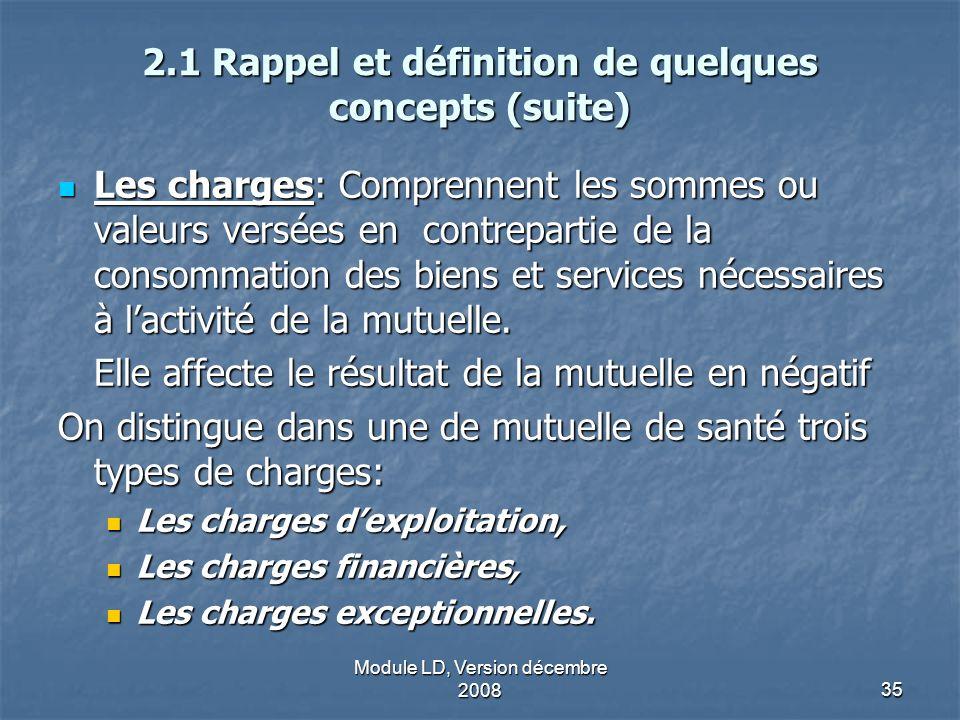 Module LD, Version décembre 200835 2.1 Rappel et définition de quelques concepts (suite) Les charges: Comprennent les sommes ou valeurs versées en con