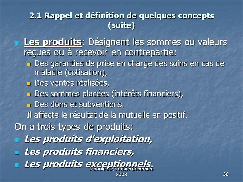 Module LD, Version décembre 200836 2.1 Rappel et définition de quelques concepts (suite) Les produits: Désignent les sommes ou valeurs reçues ou à rec