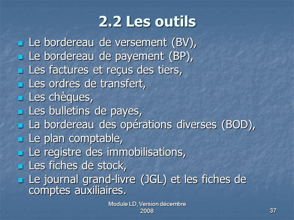 Module LD, Version décembre 200837 2.2 Les outils Le bordereau de versement (BV), Le bordereau de versement (BV), Le bordereau de payement (BP), Le bo