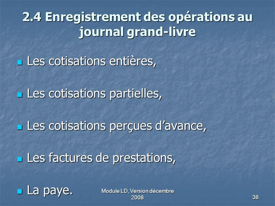 Module LD, Version décembre 200838 2.4 Enregistrement des opérations au journal grand-livre Les cotisations entières, Les cotisations entières, Les co