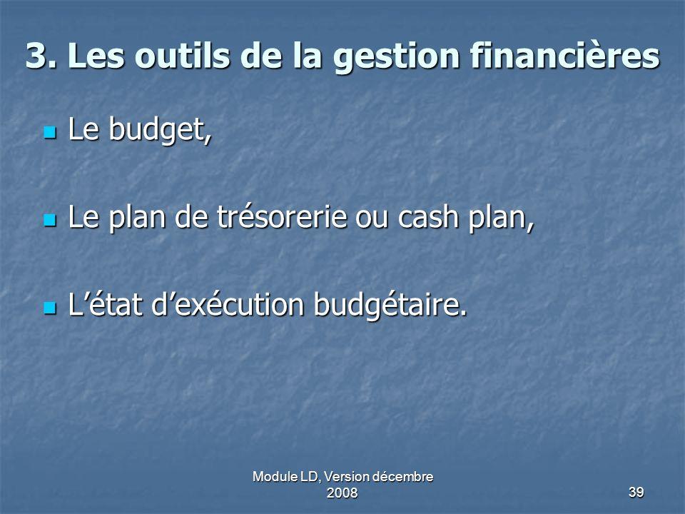 Module LD, Version décembre 200839 3. Les outils de la gestion financières Le budget, Le budget, Le plan de trésorerie ou cash plan, Le plan de trésor