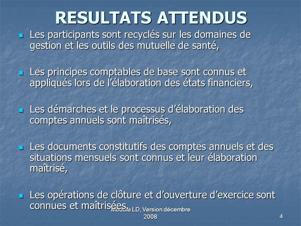 Module LD, Version décembre 20084 RESULTATS ATTENDUS Les participants sont recyclés sur les domaines de gestion et les outils des mutuelle de santé, L