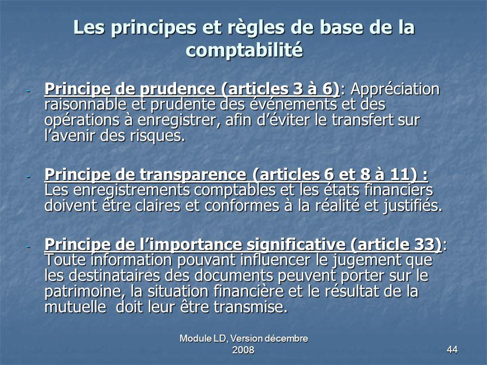 Module LD, Version décembre 200844 Les principes et règles de base de la comptabilité - Principe de prudence (articles 3 à 6): Appréciation raisonnabl