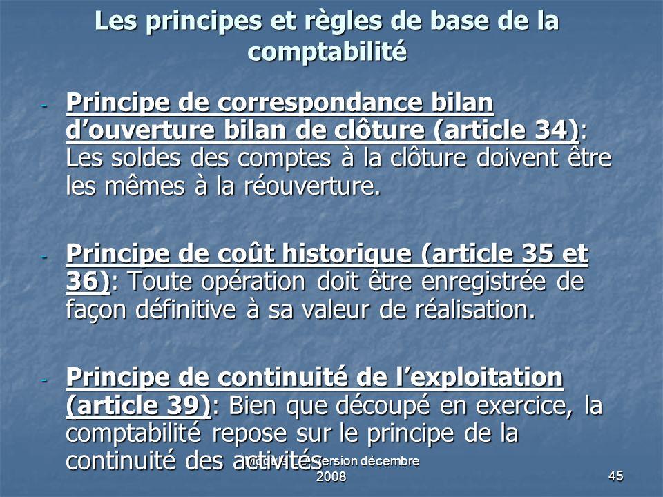 Module LD, Version décembre 200845 Les principes et règles de base de la comptabilité - Principe de correspondance bilan douverture bilan de clôture (