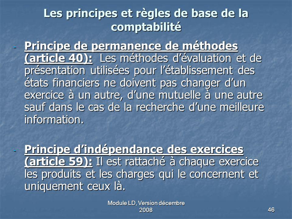 Module LD, Version décembre 200846 Les principes et règles de base de la comptabilité - Principe de permanence de méthodes (article 40): Les méthodes